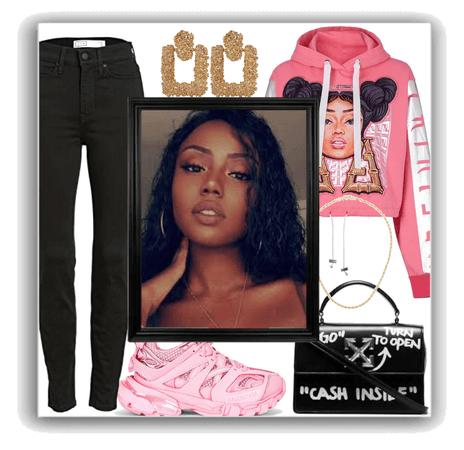 pink hoodie outfit
