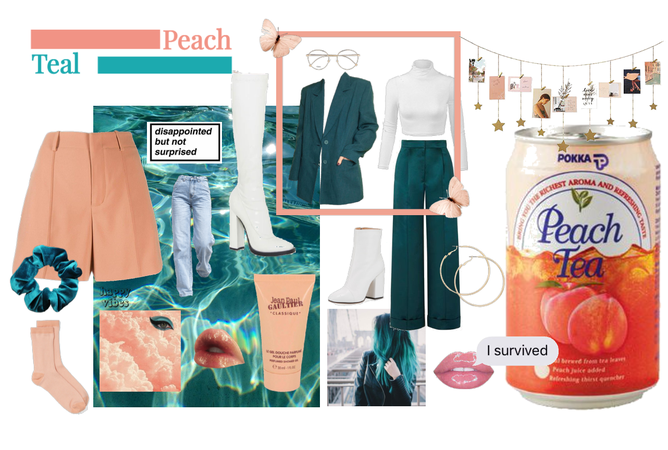 teal and peach