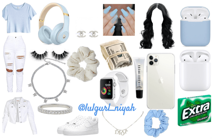 light blue+white outfit