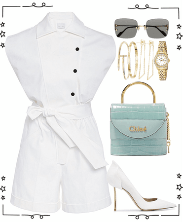 white short jumpsuit look