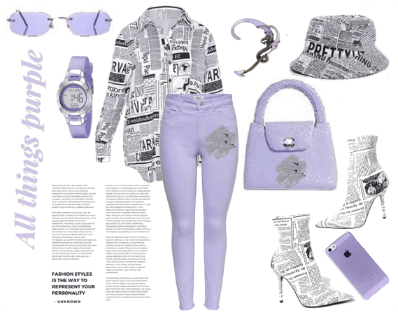 NEWS PAPER PRINT WITH A POP OF LAVENDER