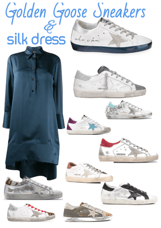 Silk Dress and Golden Goose Sneakers