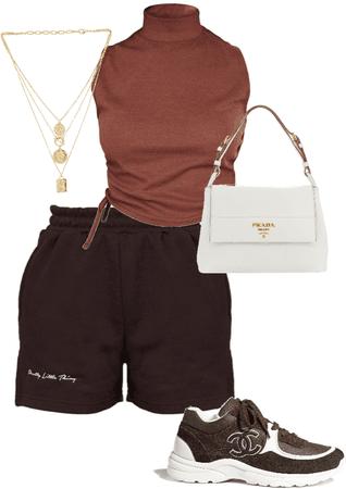 brown shorts n crop top