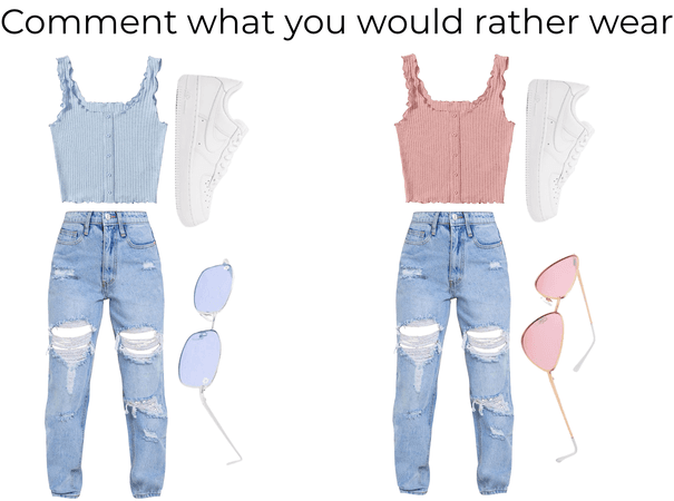 blue and pink, comment what you would rather wear
