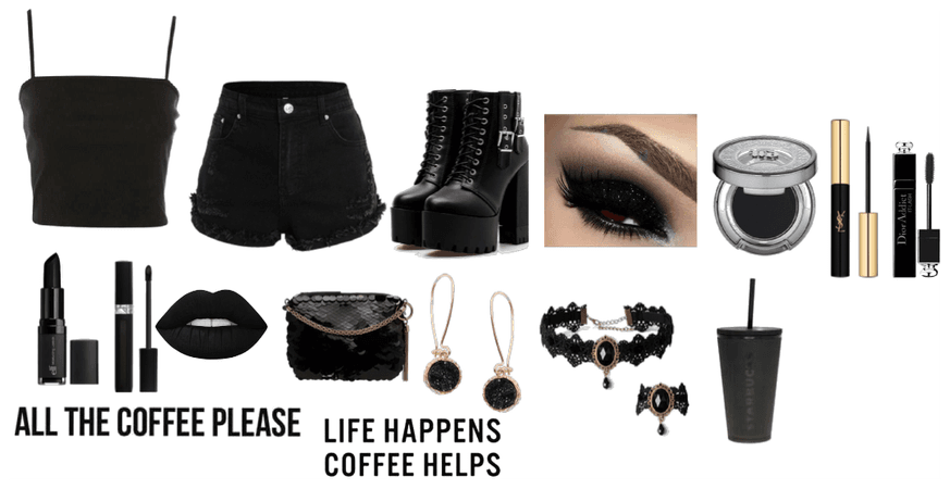 Goth All Black Outfit Look