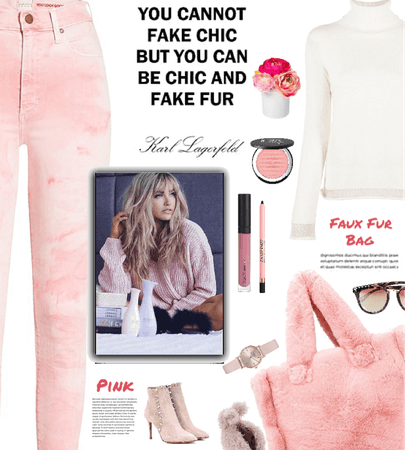 pink faux fur bag