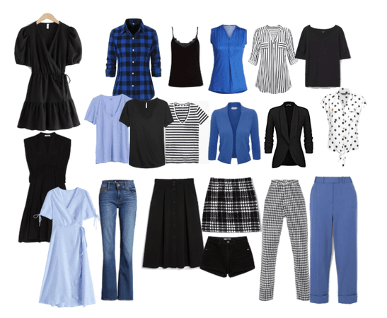 Capsule wardrobe cornflower and monochrome