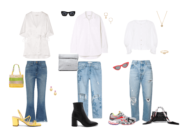 Jeans and white shirts