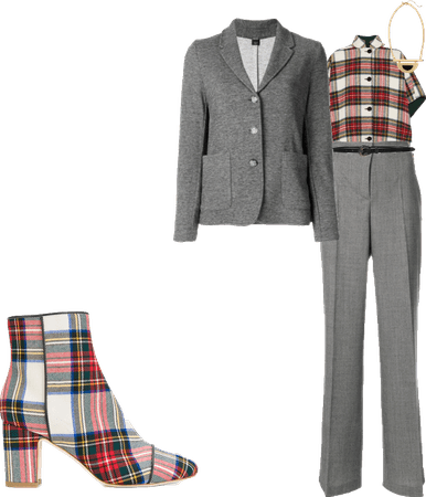 red plaid office attire