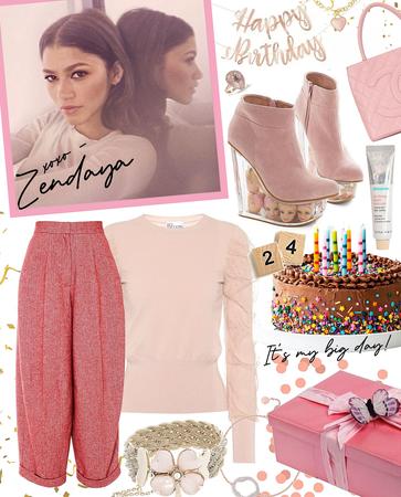 birthday in pink | zendaya