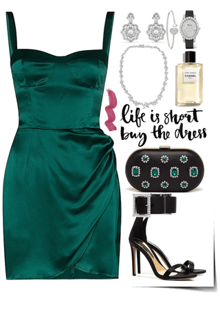 short stunning green dress look