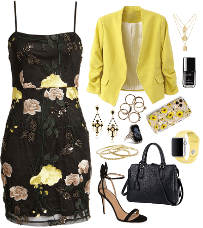 black dress with yellow roses