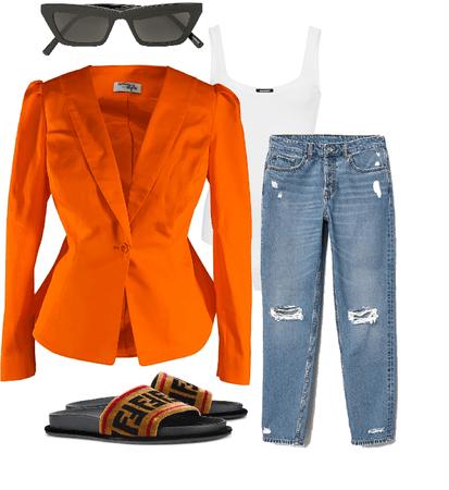 Tangerine Lulu Blazer Outfit