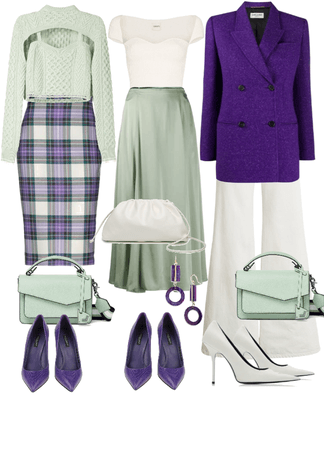 white purple green