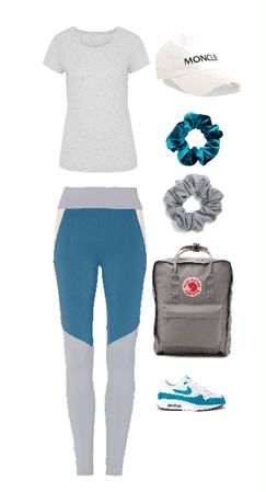 Outfit gym calzas celestes y grises
