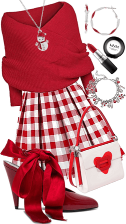 Red & White Holiday Look
