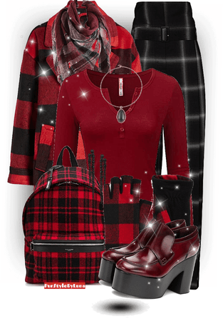 // red black and plaid //