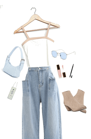 blue,white and beige street look