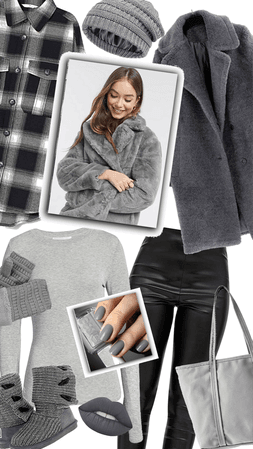 Gray Monotone Teddy Coat