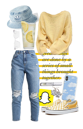 yellow + white + blue outfit