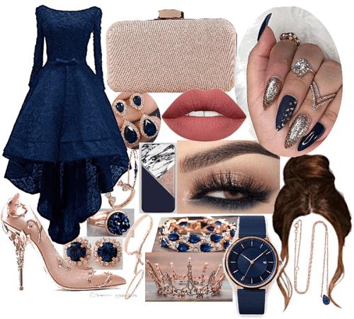 Navy Blue & Rose Gold