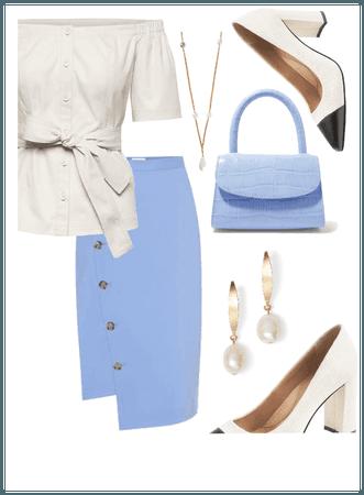 Pastel Pretty Blue Office