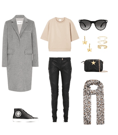Gray coat outfit