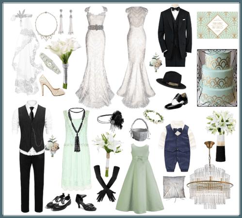 Mint and Black Art Deco Wedding