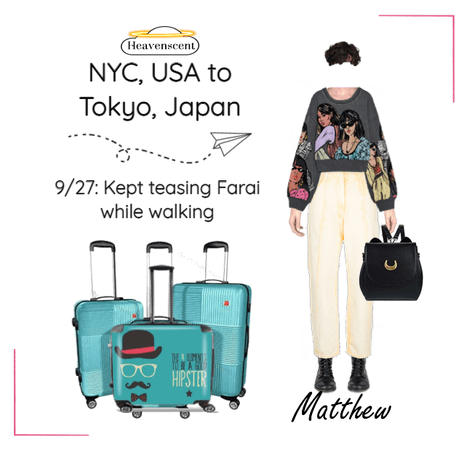 Matthew NYC to Tokyo Airport Look 9/27