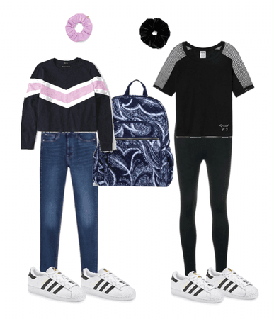 black and white, pink and blue