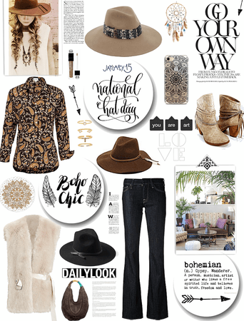 NATIONAL HAT DAY/BOHO LOOK