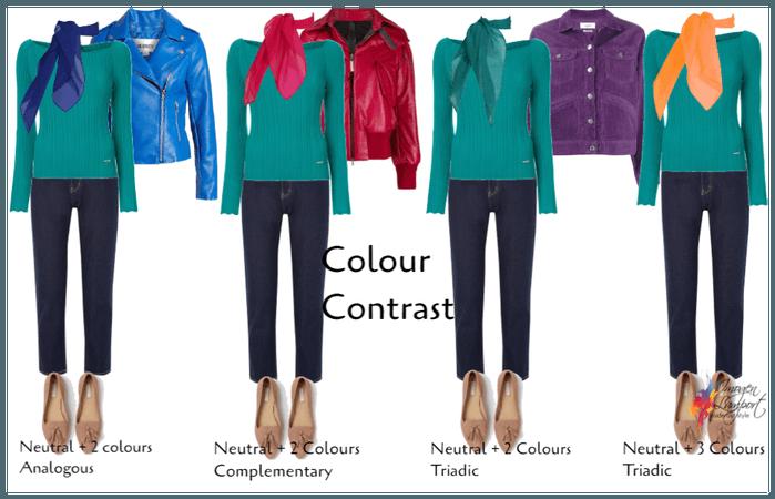 Colour contrast colour wheel