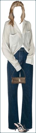 vintage shirt, levi's, high heels