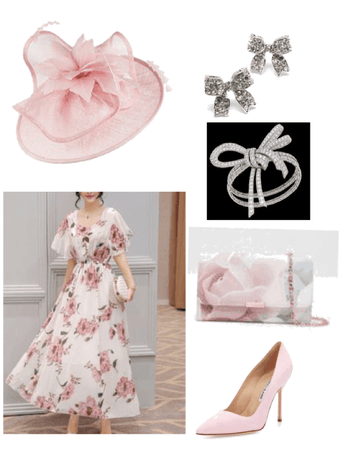 light pink rose dress outfit/w Fascinator