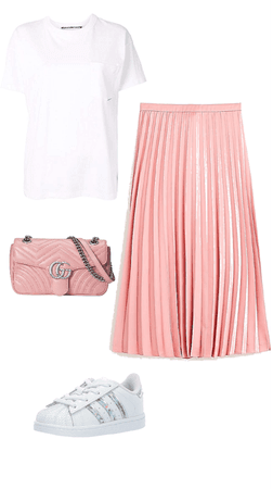 Pink pleated