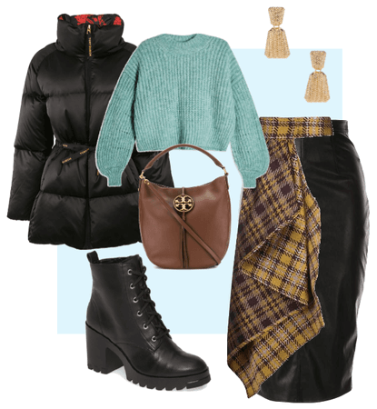 Black winter coat outfit