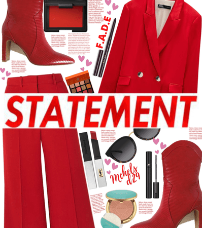 Red Statement Trousers
