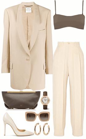 formal oversized beige blazer with brown bra & hand bag