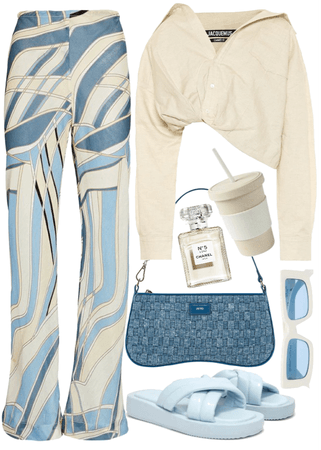 blue and off white