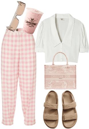 pink gingham pants