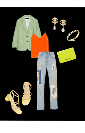 a neon theme casual but neat outfit