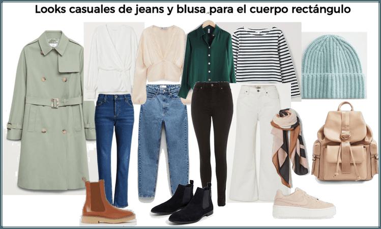 Looks casuales de jeans y blusa para cuerpo rectán