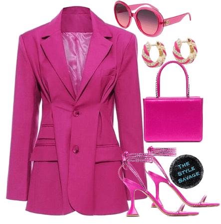 pink monochrome blazer dress