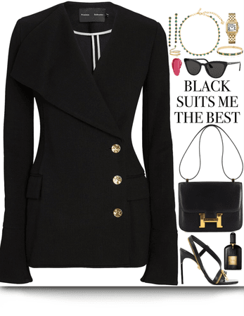 One black piece outfit with gold jewelry