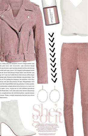 pink velvet leather