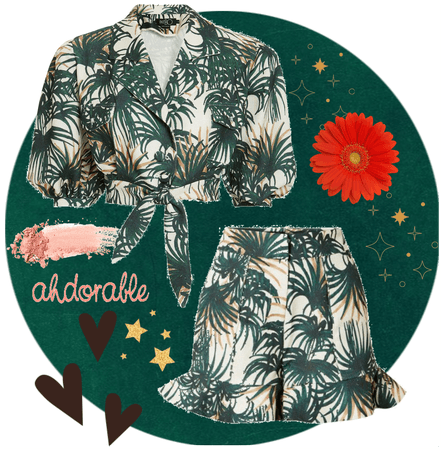 Green palm leaf print top and shorts
