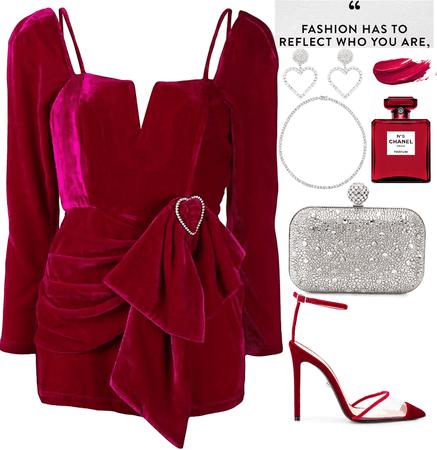 a  velvet fuchsia short dress with diamonds look
