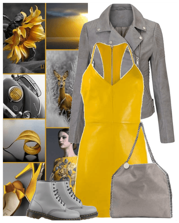 yellow and gray leather