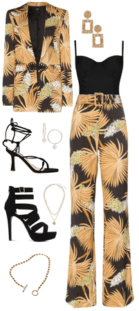 Gold and black palm leaf printed suit outfit