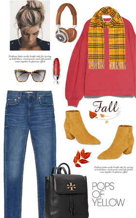 my fall prediction : pops of yellow & red sweater